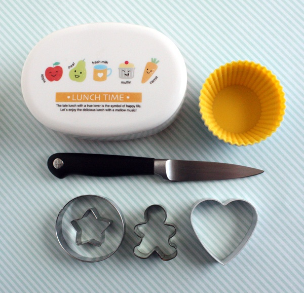 Getting Started - Bento Supplies: bento box, silicone cups, knife, cookie cutters