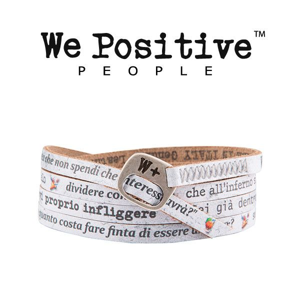 Il braccialetto in pelle di Ligabue, collezione We Positive My Song! Indossa le bellissime frasi di Happy Hour, portalo con te ai concerti un vero fan del liga!