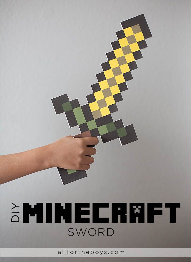 All for the Boys -DIY Minecraft Sword (free printable in wood, gold, stone, iron and diamond)