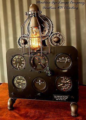 steampunk machine age aviation decor lamp wwii instrument control panel gears - Aviation Decor