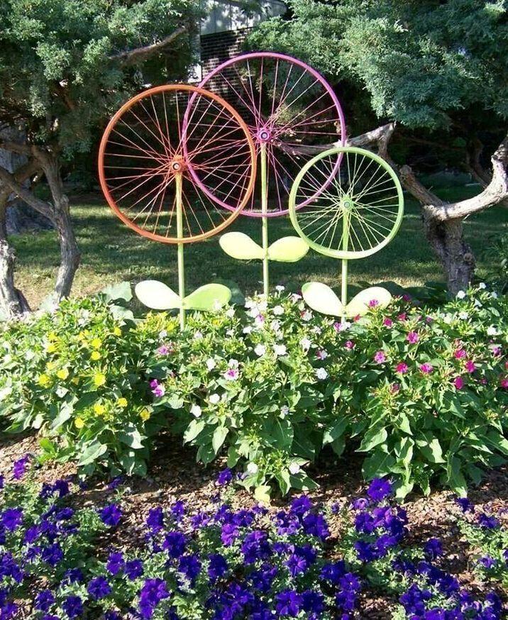 поделки для сада из колес в виде цветов