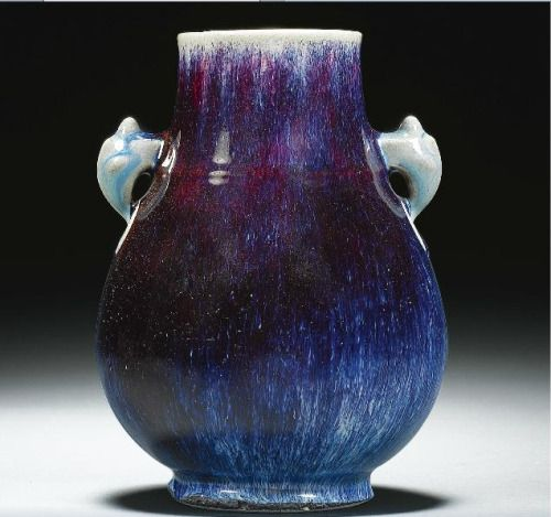 A  Flambe-Glazed Hu Shaped Vase, Qianlong Seal, Mark and Period  Sothebys, Fine Chinese Ceramics and Works of Art, London, Nov 9th