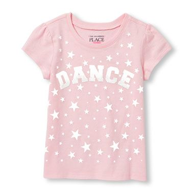 Toddler Girls Short Sleeve Glitter 'Dance' Star Print Graphic Tee