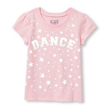 Toddler Girls Short Sleeve Glitter 'Dance' Star Print Graphic Tee