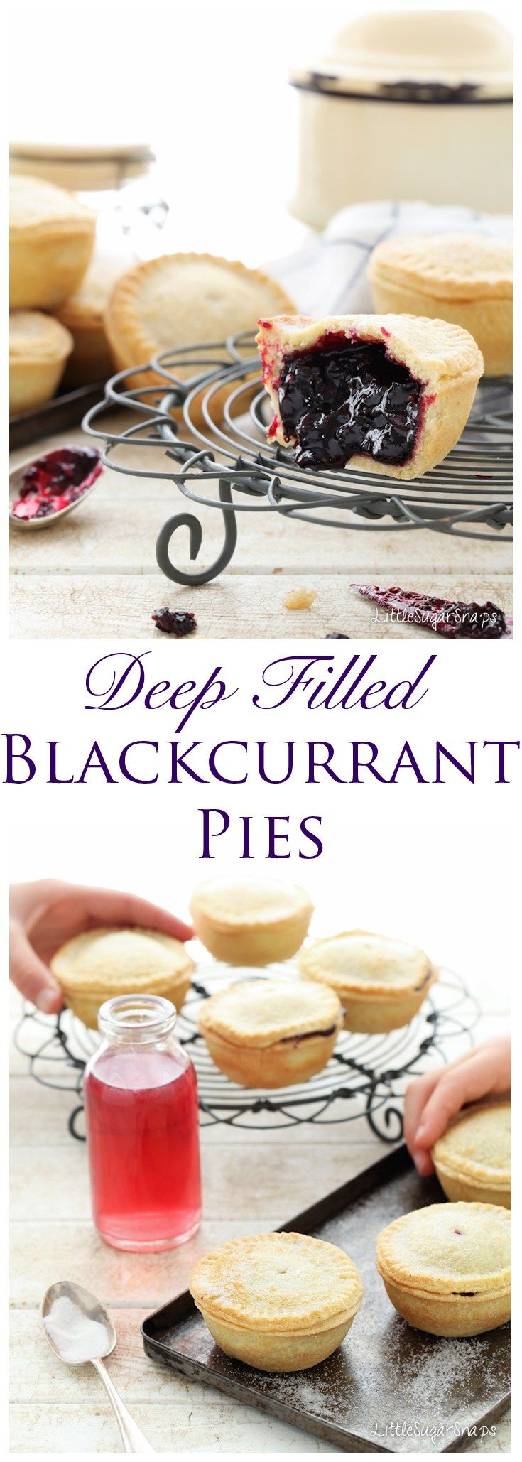 Deep Filled Blackcurrant Pies are the perfect marriage of sweet, tart jammy blackcurrant pie filling generously piled into crisp, golden homemade pastry. Eat them on their own – warm or cold – or elevate them into dessert status by serving with cream, custard or ice cream. These pies are sweet comfort food at their best.