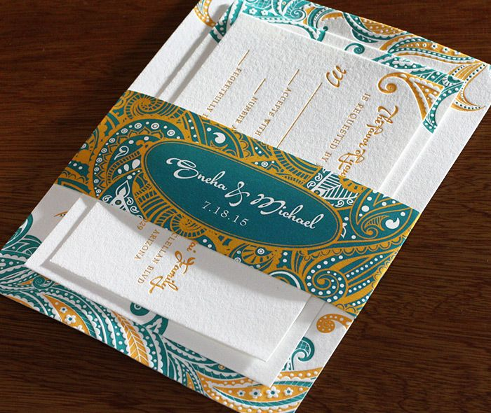 Gold and teal modern floral paisley wedding invitation set with monogrammed belly band.  | Invitations by Ajalon | invitationsbyajalon.com