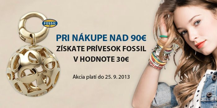 Akcia - darček k nákupu na 90 Eur, prívesok Fossil Hodinky a šperky na 1010.sk
