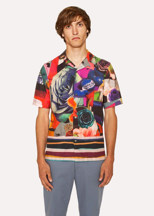 9434075bcdd607 Paul Smith Men's Tailored-Fit 'Rose Collage' Print Short-Sleeve Shirt
