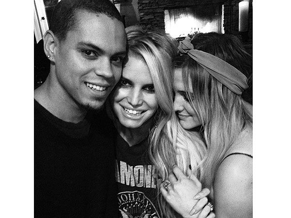 Jessica Simpson Poses with Ashlee Simpson & Fiancé Evan Ross
