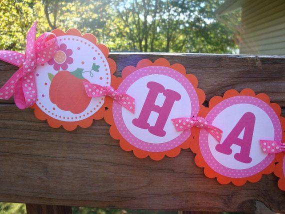 Little Girly Pumpkin Banner Fall First By