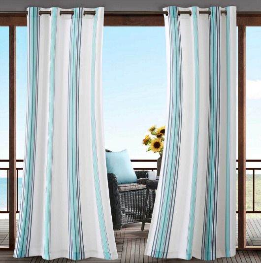 Blue Striped Outdoor Curtain Panels.... http://www.completely-coastal.com/2017/05/outdoor-coastal-curtain-panels.html Make your outdoor space cozy and private with outdoor curtains!