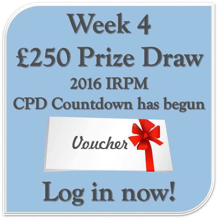 Spoil yourself with a chance to win £250 voucher from IRPM in the New Year! http://buff.ly/2gnB0SP  #CPD #Win #Voucher #IRPM