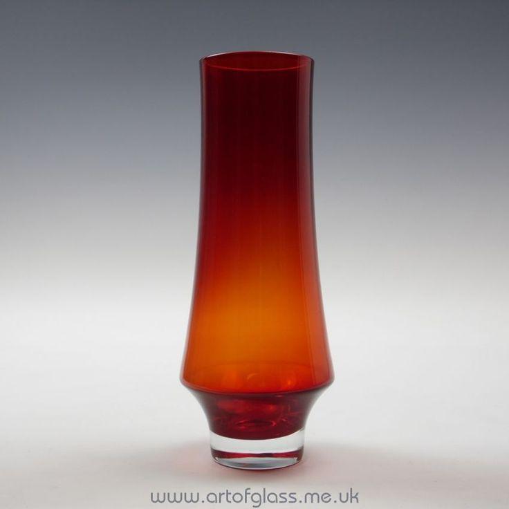 Riihimaki ruby red glass vase