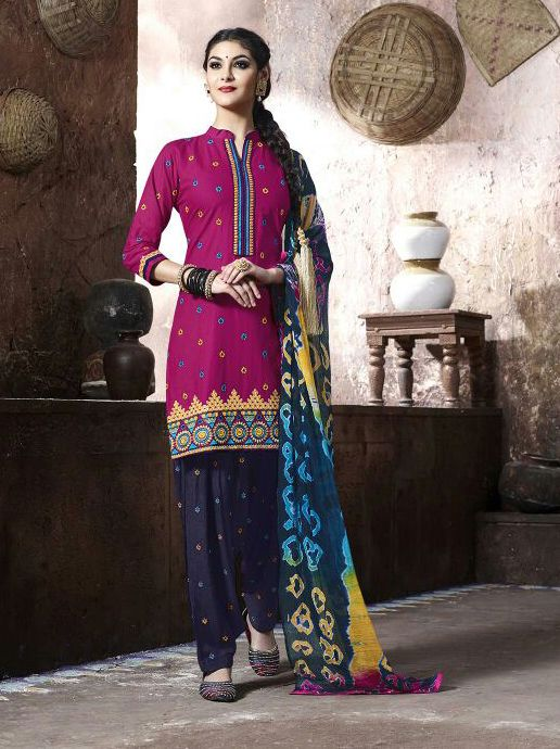 Azalea #Purple And #Blue #Cotton #Patiala #Suit #nikvik  #usa #designer #australia #canada #freeshipping #fashion #dress #sarees #sale