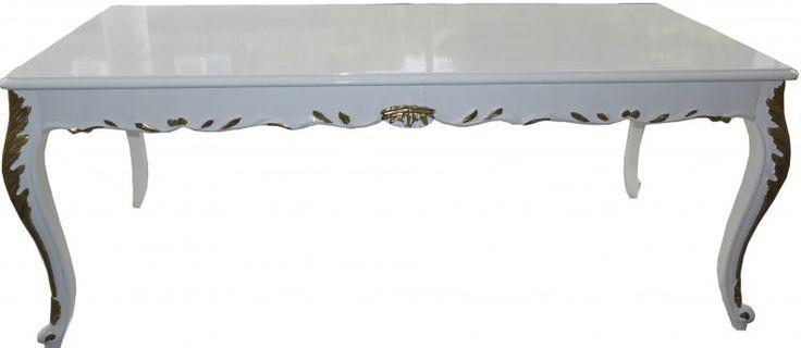 Casa Padrino Barock Esstisch Weiß Hochglanz / Gold - Esszimmer Tisch - alle Grössen 1