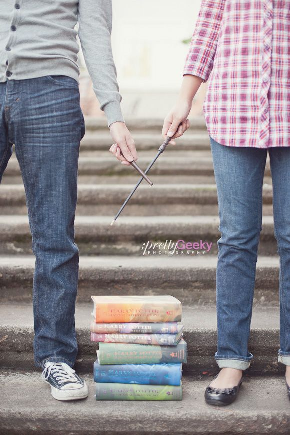 Harry Potter engagement photo. Taking the unbreakable vow? Lol