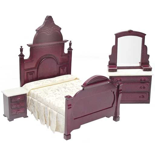 3 pc marble top mahogany bedroom set