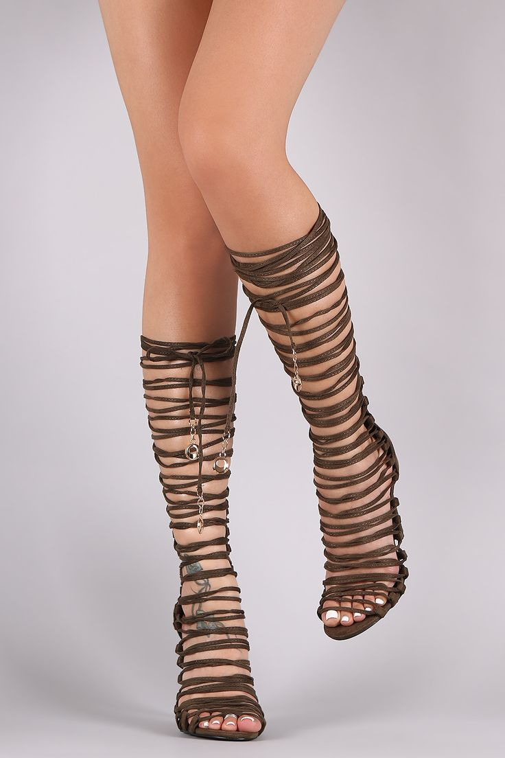 Suede Open Toe Corset Lace Up Gladiator Heel