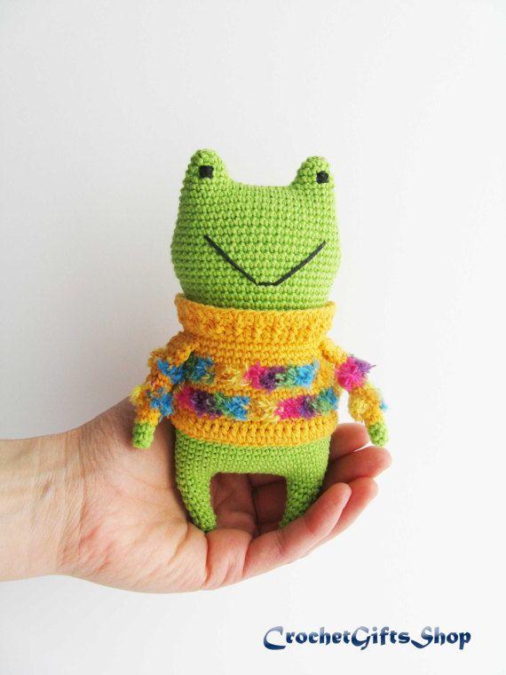 Frog Crochet pattern Amigurumi Toys green toad Digital