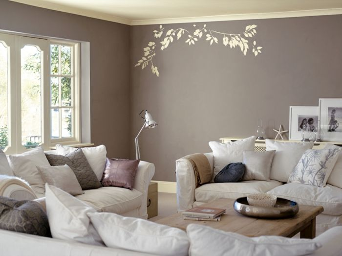 wandtattoo frs wohnzimmer - Taupe Wandfarbe