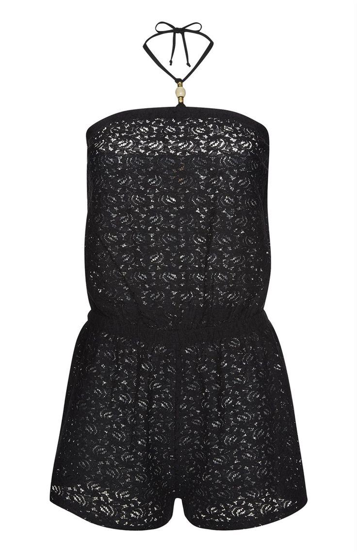 Primark - Black Crochet Lace Playsuit
