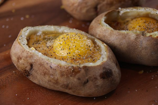 Twice-baked potato with egg and breakfast stuffing...hmmm.
