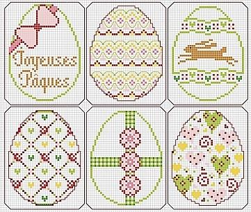 easter cross stitch pattern eggs