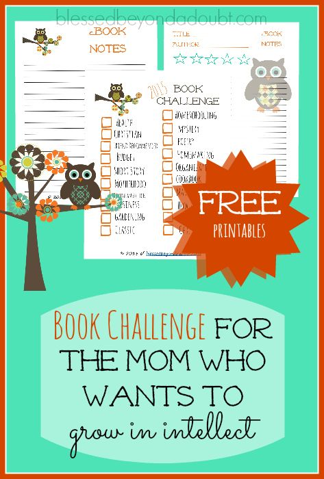 FREE Book Challenge 2016 with Printables! Read your own books and grow in intellect as a woman.