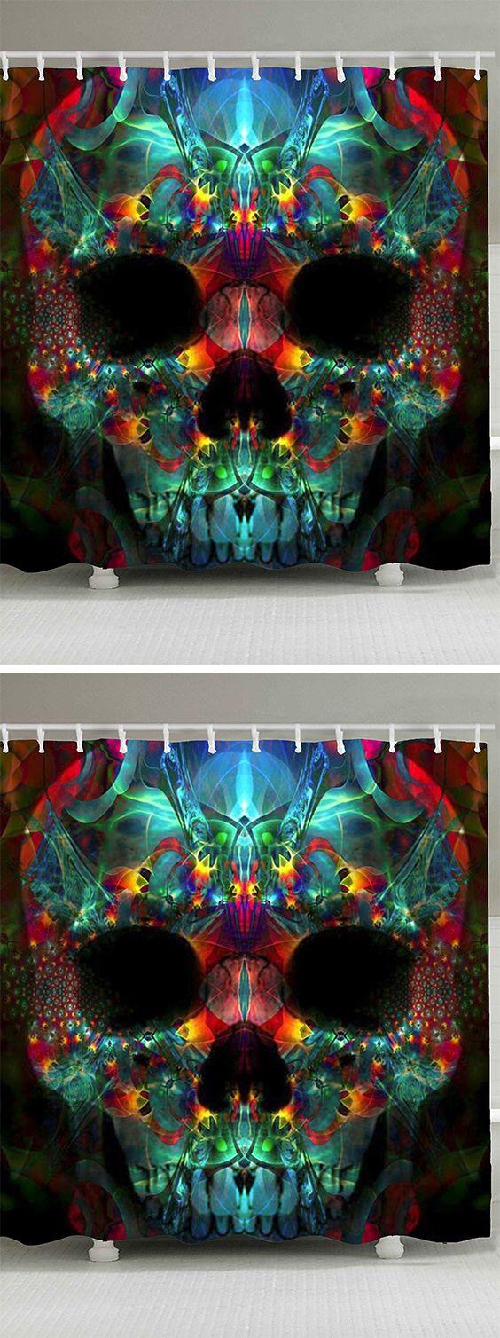 home decor:Colorful Skull Print Waterproof Halloween Shower Curtain