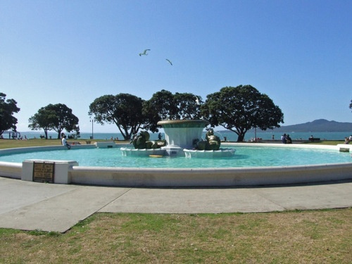 The fountain base at Mission Bay, Auckland, New Zealand.  This is on the opposite side of Rangitoto Island from where we live.  Its about 35 mins drive away.  Usually full of children (and adults) during the heat of summer.