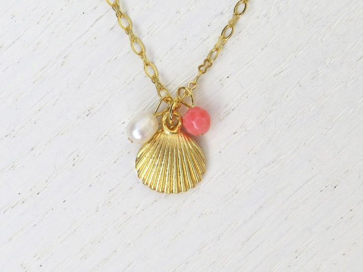 Handmade Gold Seashell Charm Necklace With Natural Coral & Pearl Gemstone Beads #Handmade #Chain
