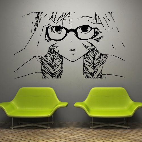 Charmant Anime Wall Decals Anime Stickers Girl Face Glasses Hair Anmwd7. Removable  Vinyl Anime Wall Decals