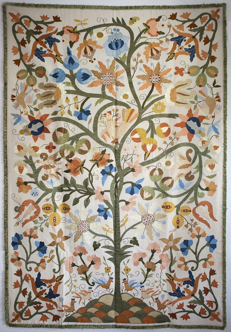 "The Tree of Paradise Silk Embroidery Wall Tapestry - Silk Embroidery ""Bordado de Castelo Branco"""