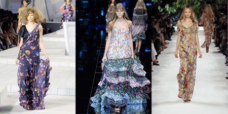 Длинные цветочные платья от Marc Jacobs, D & G, и Стелла Маккартни на весну 2008 готовы носить взлетно-посадочных полос