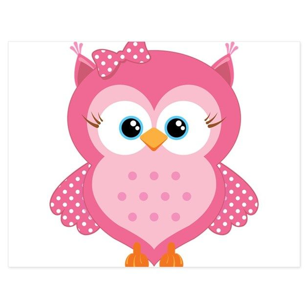 A sweet blue-eyed pink cartoon owl