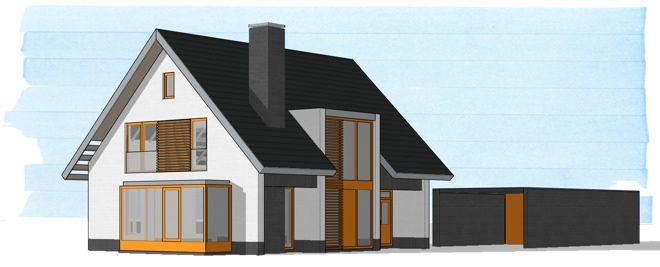 modern huis vlakke pan