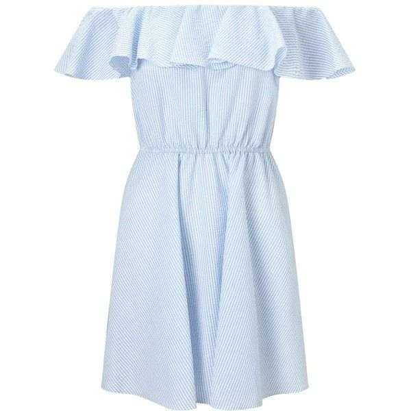 Miss Selfridge PETITE Poplin Stripe Bardot Sundress ($68) ❤ liked on Polyvore featuring dresses, blue, petite, striped skater dress, sundress dresses, striped summer dress, blue sundress and petite sundresses