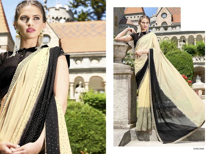 Adorable Beige & Black Saree,Faux georgette & chiffon saree,double shaded saree,shaded saree with art silk blouse,buy saree online