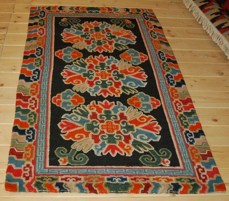 Antique Tibetan Rug: Woollen Khaden Carpet, The Black Field With Peonies, Ruji