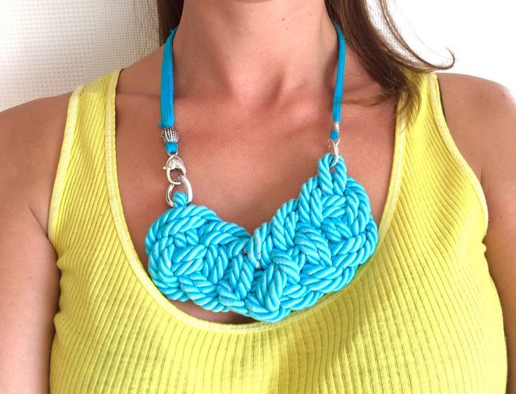 New to SaraKeyHandmade on Etsy: Chunky turquoise necklace Rope necklace Nautical rope Sailor knot necklace Blue statement necklaceTextile jewelry Fabric necklace (22.00 USD)