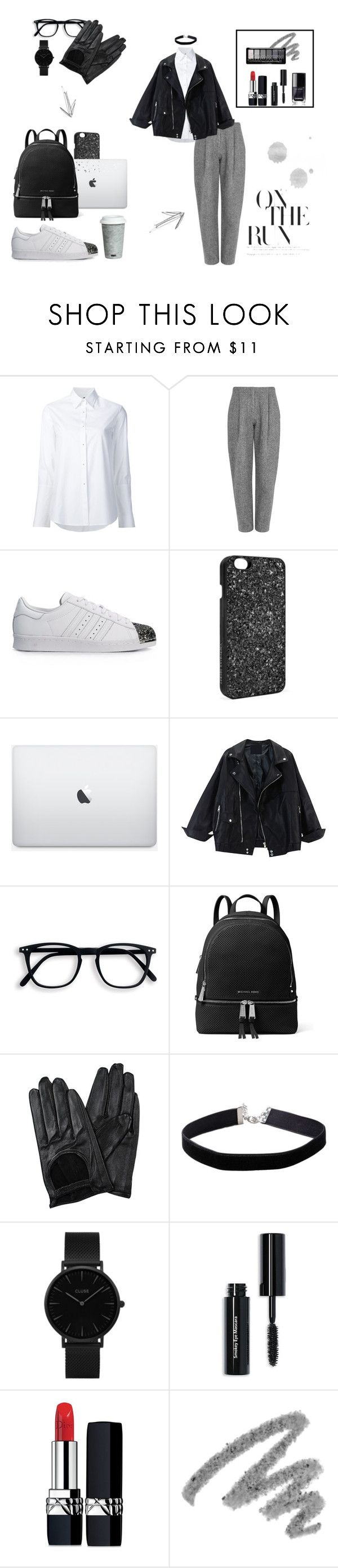 """Black and Grey"" by smaranda-leorda on Polyvore featuring Misha Nonoo, Acne Studios, adidas Originals, Victoria's Secret, MICHAEL Michael Kors, Chicnova Fashion, Miss Selfridge, CLUSE, Bobbi Brown Cosmetics and Christian Dior"