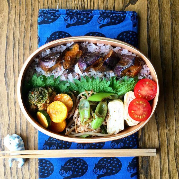 ナスのっけ弁当 . 今日もお弁当なし。 いつかのお弁当です(´ω`) . #お弁当#曲げわっぱ#旦那弁当#お昼ごはん…