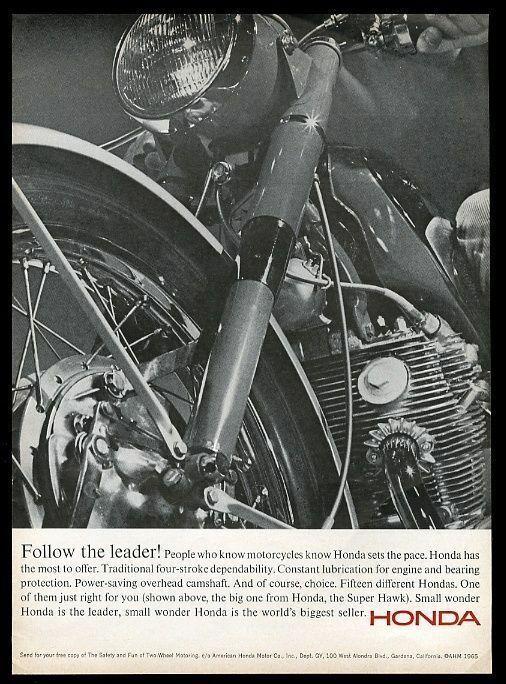 1965 Honda Super Hawk Moto Photo Vintage Imprime Annonce Photo