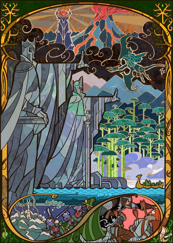 Lovely Stained Glass-Style Illustrations for 'Lord of the Rings' – Flavorwire