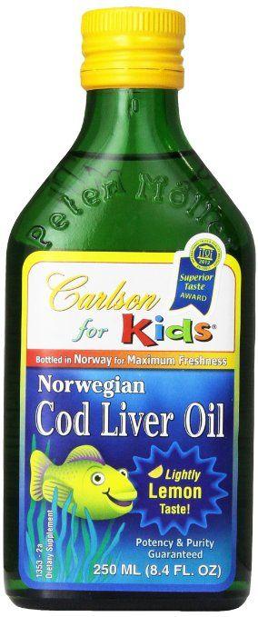 Carlson Labs Norwegian Carlson for Kids Natural Vitamin E Cod Liver Oil, Lemon, 250ml Glass Bottle