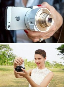 Smartphone attachable lens-style camera