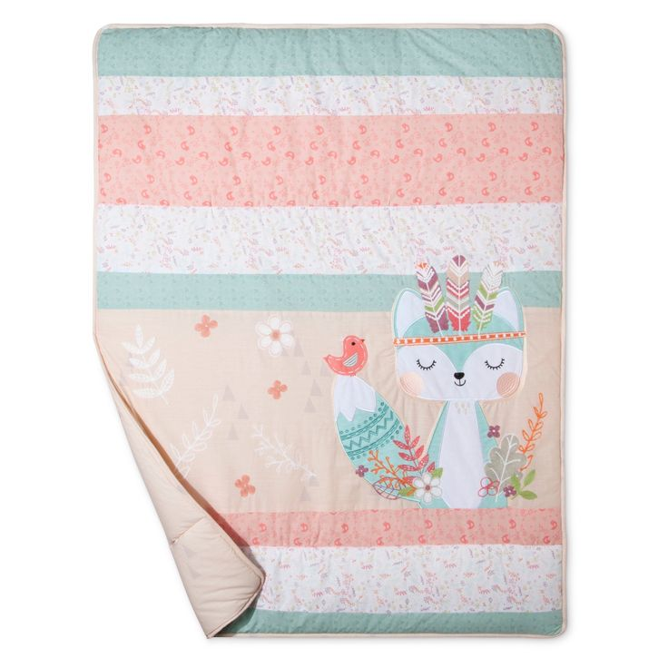 Add a touch of southwestern sophistication with the wildly adorable Wild Forever Collection by Trend Lab! A trendy mix of floral scatter prints is highlighted by darling delicate crewel knit appliqued feathers that accent our serene little fox. The warm color palette and stylish details are the perfect addition to your little explorer's nursery! <br>Set includes: Quilt, Crib Skirt and Fitted Crib Sheet.<br>Reversible 100% cotton Quilt measures 35 in x 45 in and features ...
