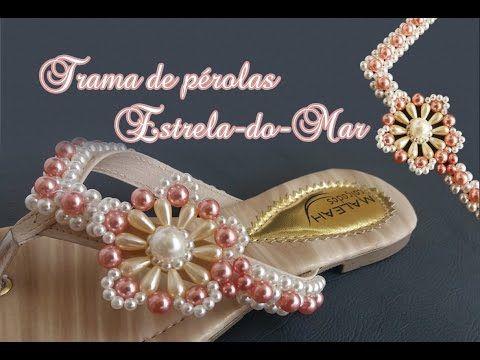 Sandália rasteirinha bordada com cristais e pérolas (mãe e filha) - YouTube
