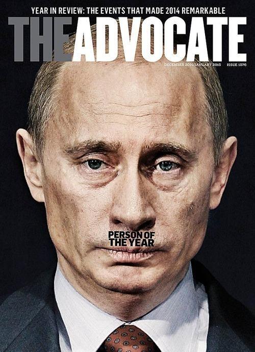 The Adcocate: Das Cover der Woche liefert The Advocate. Das amerikanische Schwulen und Lesben-Magazin bestimmte Putin zur Person des Jahres. Nur durch die richtig platzierte Schrift transportiert das Bild eine zusätzliche, beängstigende Botschaft. Hitler-Cover scheinen auch in den USA bestens zu funktionieren.