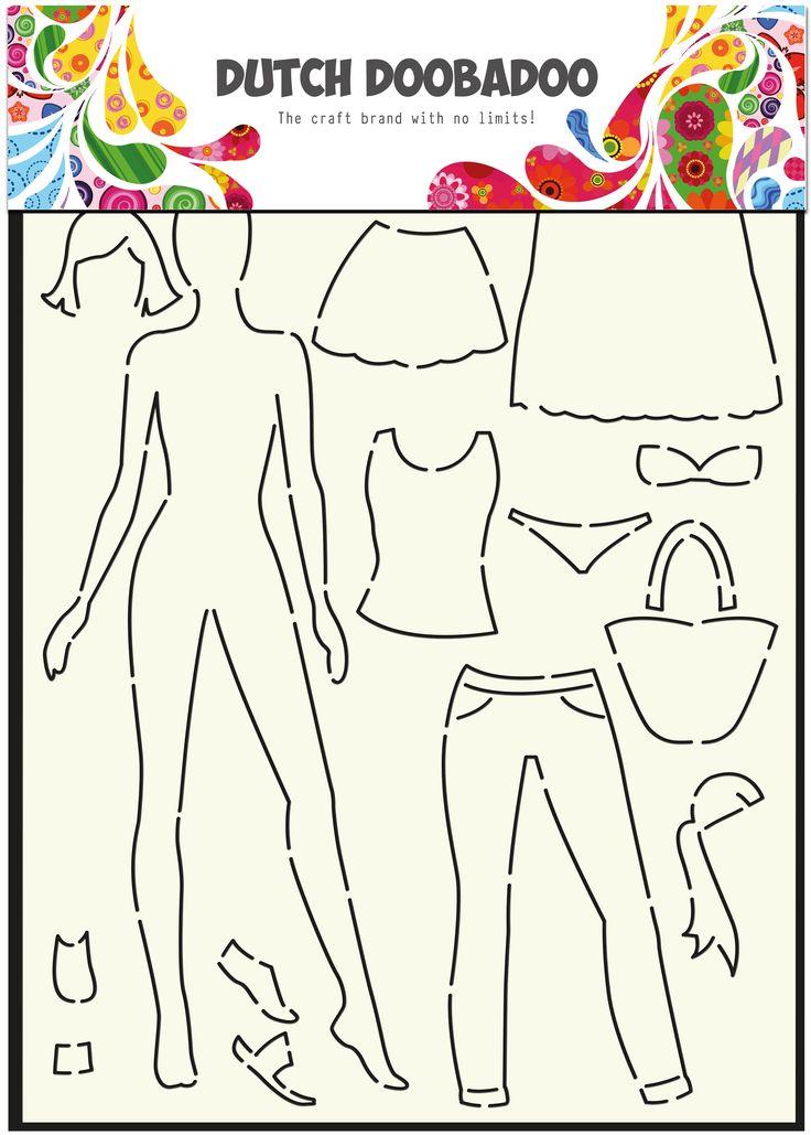 470.715.803 Dutch Doobadoo Stencil Art Dress up doll